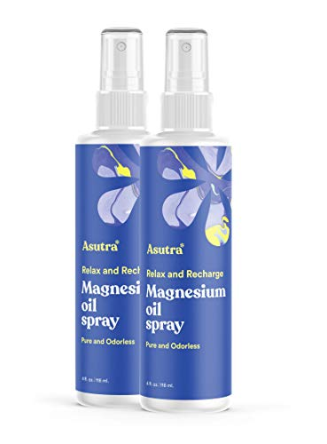 ASUTRA Topical Magnesium Chloride Oil Spray, 4 fl oz (Pack of 2)  Rapid Absorption   Relieve Muscle Cramps   Fight Joint Pain   Stress, Anxiety, Headache Relief   Pure Zechstein   Promotes Collagen & Energy