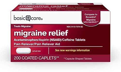 Amazon Basic Care Migraine Formula Caplets, Acetaminophen, Aspirin (NSAID) and Caffeine Tablets, Migraine Pain Relief, 200 Count