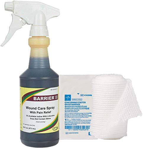 """BARRIER II Wound Care Spray with LidocaineHCL Pain Relief 16oz and Complimentary Conforming Stretch Gauze Bandage Single-Ply Sterile 2"""" x 75"""""""