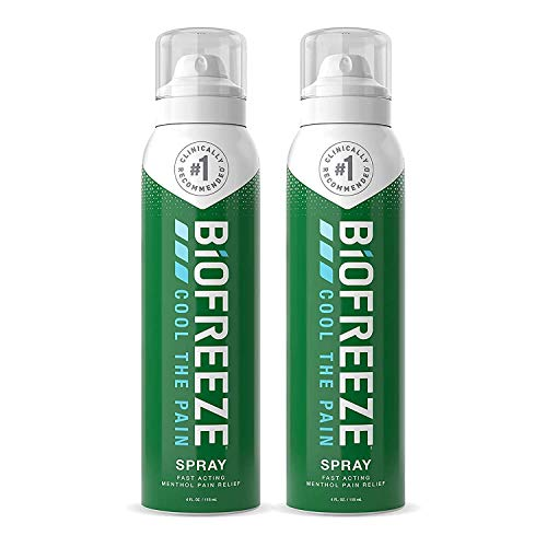Biofreeze - 13531 Pain Relief Spray, 4 oz. Aerosol Spray, Pack of 2, Colorless (Packaging May Vary)