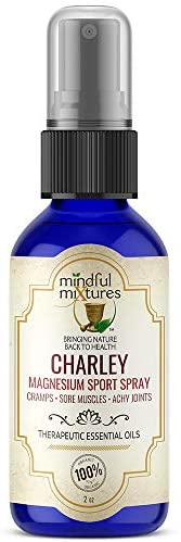 CHARLEY Magnesium Sport Spray (2 oz.) - All Natural, Fast-Acting, Organic Solution for Athletes and Active Individuals that Stops Leg and Foot Cramps on Contact, Soothes Sore Muscles and Achy Joints