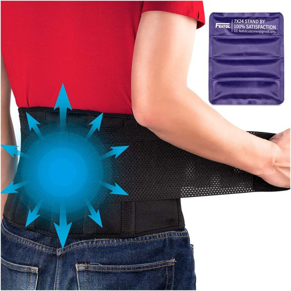 FEATOL Gel Pack Back Brace,Lumbar Support for Back Pain Relief, Herniated Disc, Sciatica, Scoliosis - Breathable Material Design with Heat & Ice Gel Pack for Men & Women | XX-Large