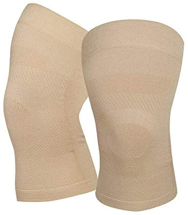 Knee Compression Sleeves, 1 Pair, Can Be Worn Under Pants, 20-30mmHg Strong Support Knee Brace for Unisex, Knee Support for Meniscus Tear, Arthritis, Pain Relief, Injury Recovery, Sports, Daily Wear, Beige M