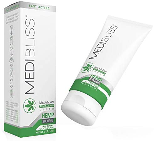 MediBliss Hemp Pain Relief Cream - Fast Acting & Long Lasting - Relieves Muscle, Joints, Arthritis, Neck, Knee and Back Pain & Inflammation - 2000mg Hemp Oil with Arnica, MSM, Aloe, Lavender Oil, 2 oz