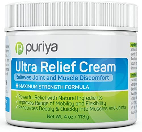 Puriya Ultra Relief Cream with Natural Menthol, Long Lasting Balm for Muscle and Joint Comfort in Leg, Hand, Ankle and Knee, Fast-Acting Rub with Pleasant Scent, Maximum Strength, Fit for Athletes