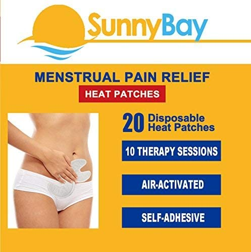 Sunny Bay Menstrual Heating Pad: (Pack of 20) Adhesive Period Pain and Cramp Heat Patches, Disposable, Air-Activated, Portable (Menstrual Pain Heat Pads) Personal Non Electric Deep Muscle Hot Pack