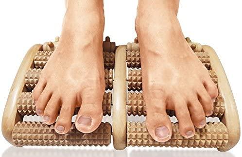 TheraFlow Dual Foot Massager Roller (Large). Relieve Plantar Fasciitis, Stress, Heel, Arch Pain - The Original - Shiatsu Acupressure Relaxation. Full Instructions/Reflexology Chart. Christmas Gift