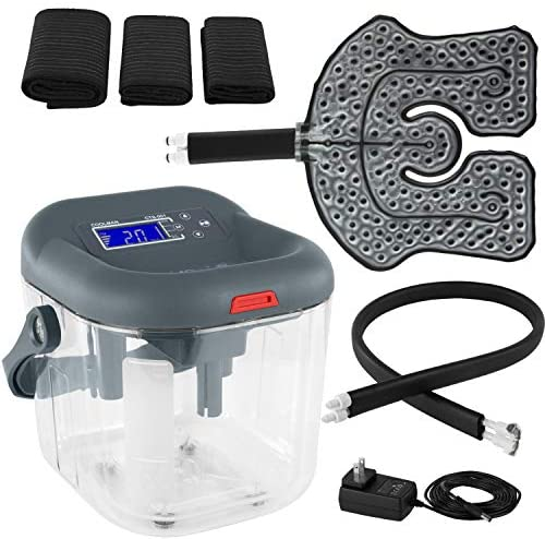 Vive Cold Therapy Machine - Large Ice Cryo Cuff - Flexible Cryotherapy Freeze Kit System Fits Knee, Shoulder, Ankle, Cervical, Back, Leg, Hip and ACL - Wearable Adjustable Wrap Pad - Cooler Pump
