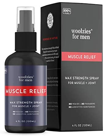 Woolzies 100% Pure Mens Deep Muscle & Pain Relief Essential Oil Spray | Great for Sports & Athletics | Relieves Inflammation, Muscle, Joints, Back, Knee, Nerves, Arthritis, Back Pain 4 FL OZ