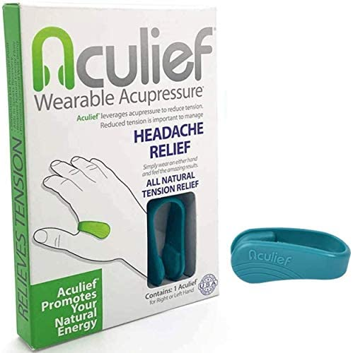 Aculief - Award Winning Natural Headache, Migraine, Tension Relief Wearable – Supporting Acupressure Relaxation, Stress Alleviation, Soothing Muscle Pain - Simple, Easy, Effective 1 Pack - (Teal)