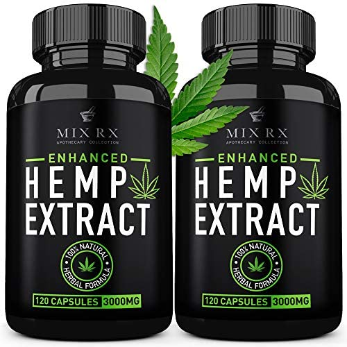 (2 Pack   240 Pills) Hemp Oil Capsules 3000MG for Pain Relief Anxiety Sleep Mood Immune - Best Natural Organic Hemp Seed Oil Powder Extract, Omega 3 6 9
